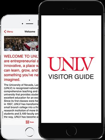 Visit UNLV App on 2 iPhones